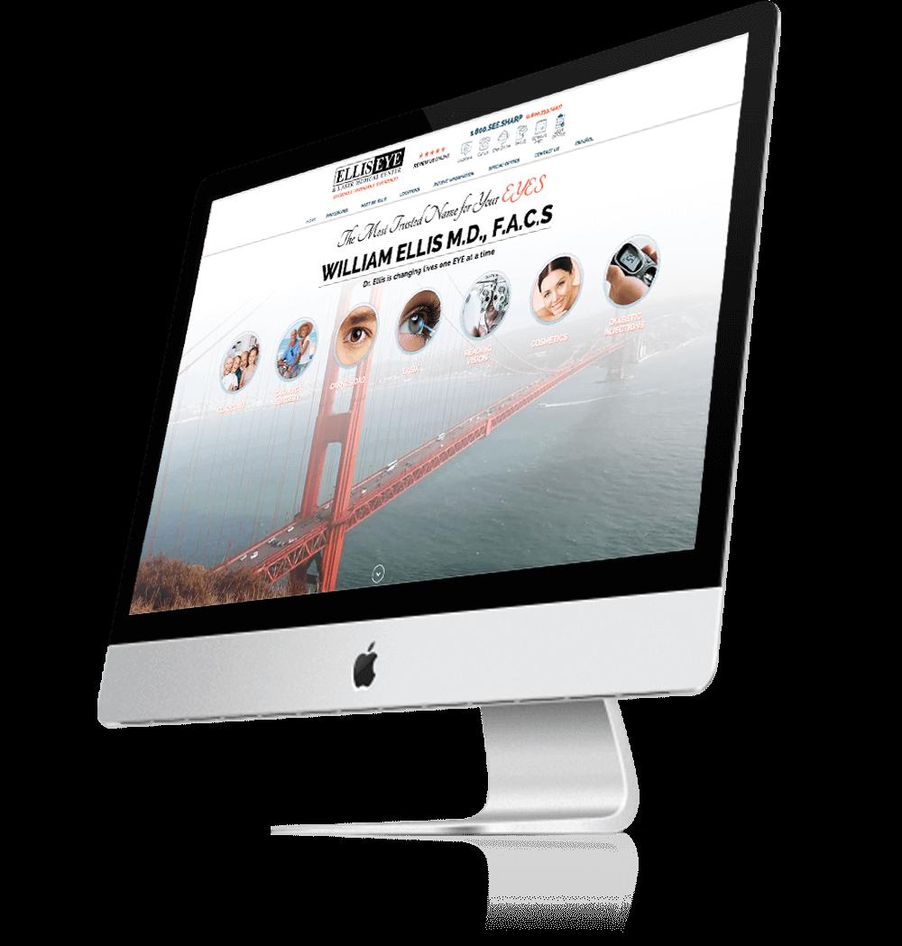 Mac Computer Monitor Showing The Ellis Eye Website
